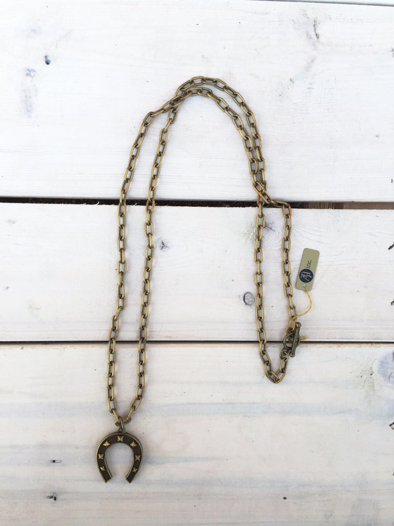 Long Chain Necklace w/ Horseshoe