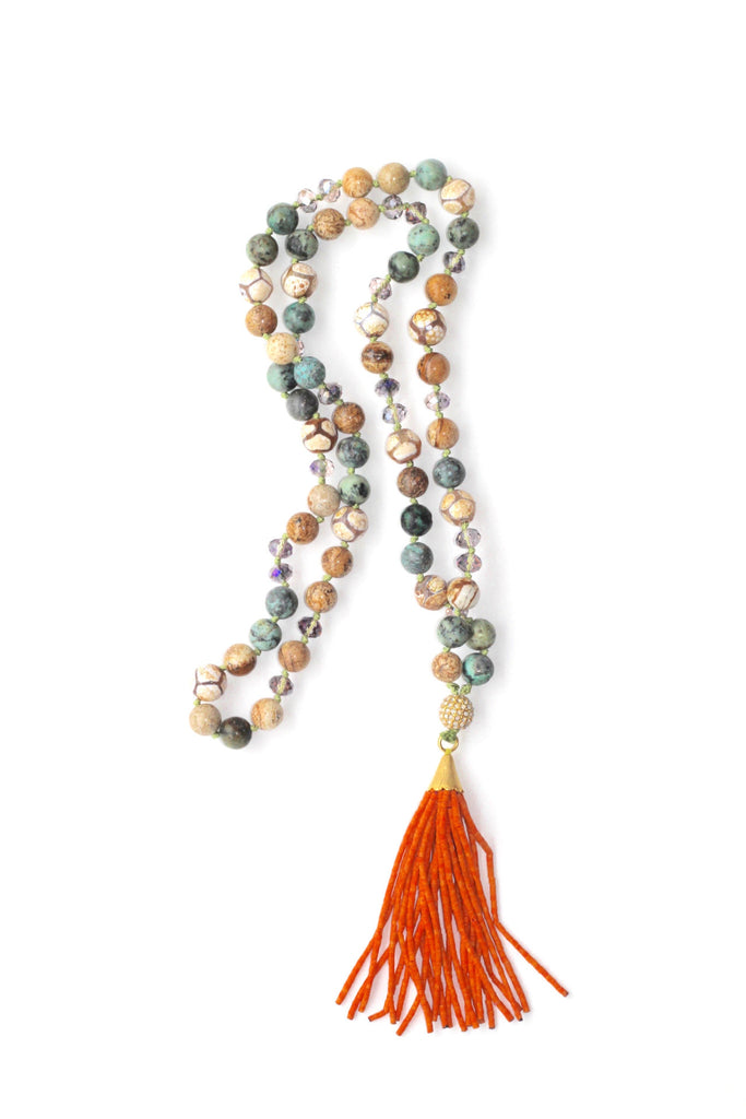 Glass Bead Necklace with Tassel - Orange