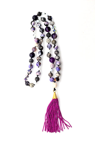Glass Bead Necklace with Tassel - Purple