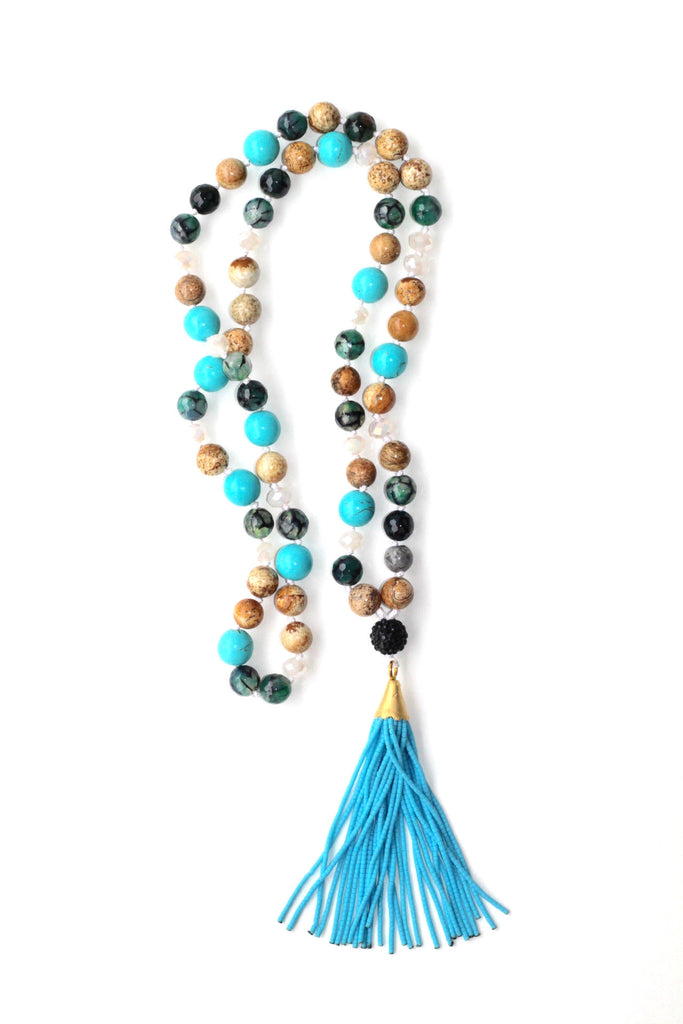 Glass Bead Necklace with Tassel - Blue