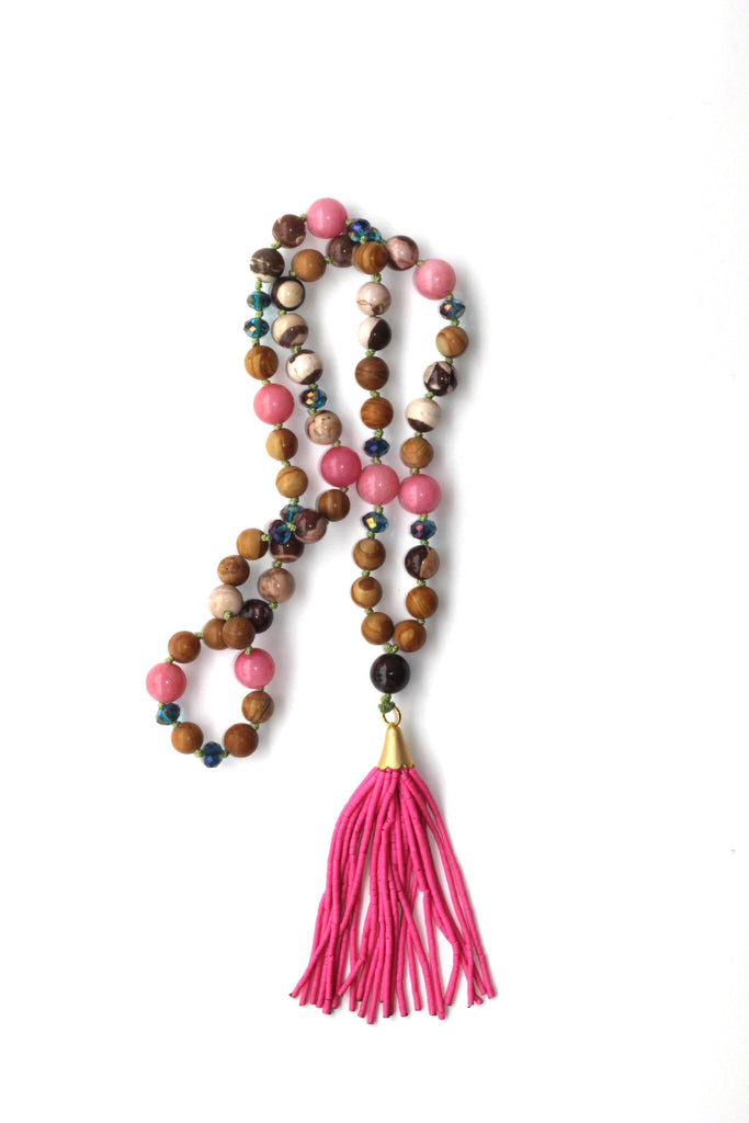 Glass Bead Necklace with Tassel - Pink