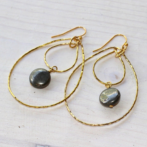 Double Hoop Single Drop Earrings