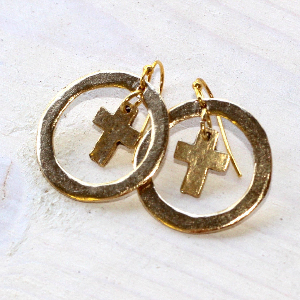 Circle Cross Earrings - Gold/Gold
