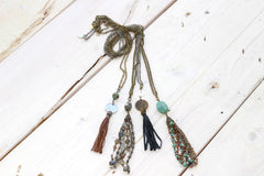 Vintage Coin Tassel Necklace - Brown Leather