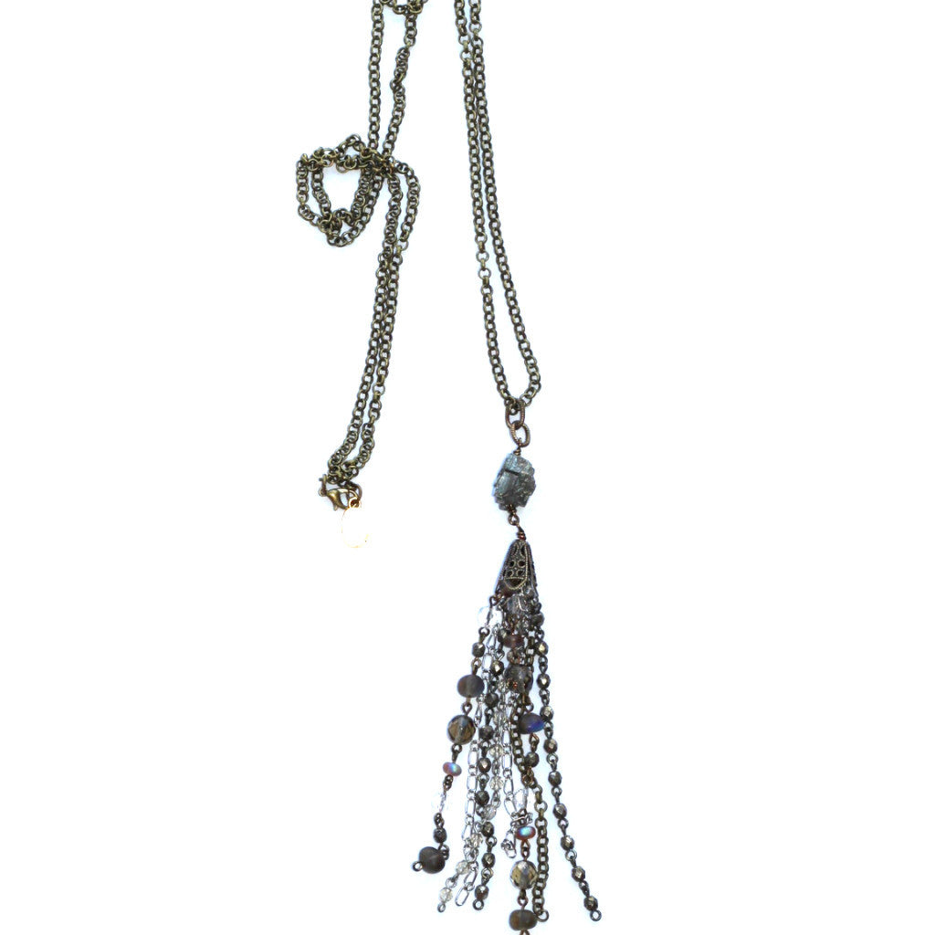 Mixed Metal Tassel Necklace - Titanuim