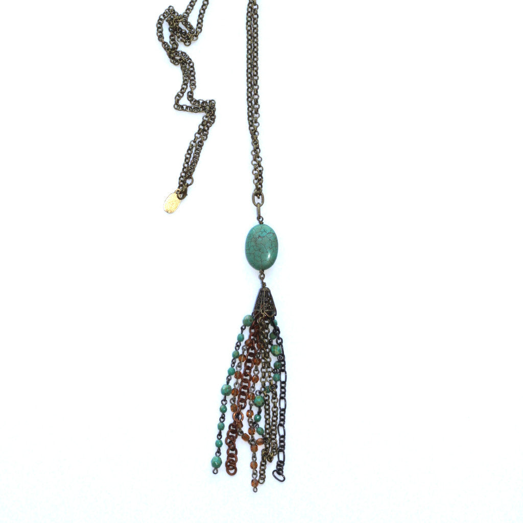 Mixed Metal Tassel Necklace - Turquoise