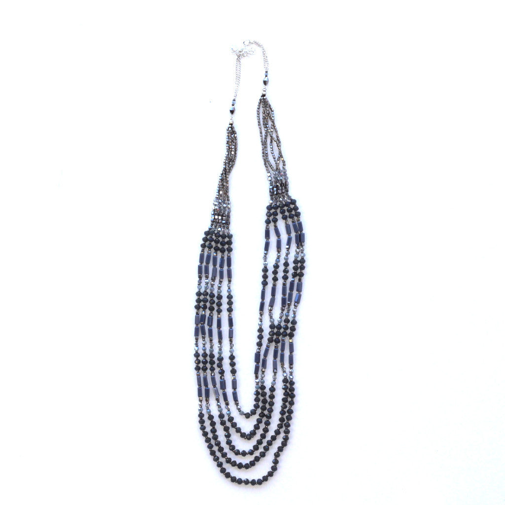 Grey and Silver Multi Strand Necklace