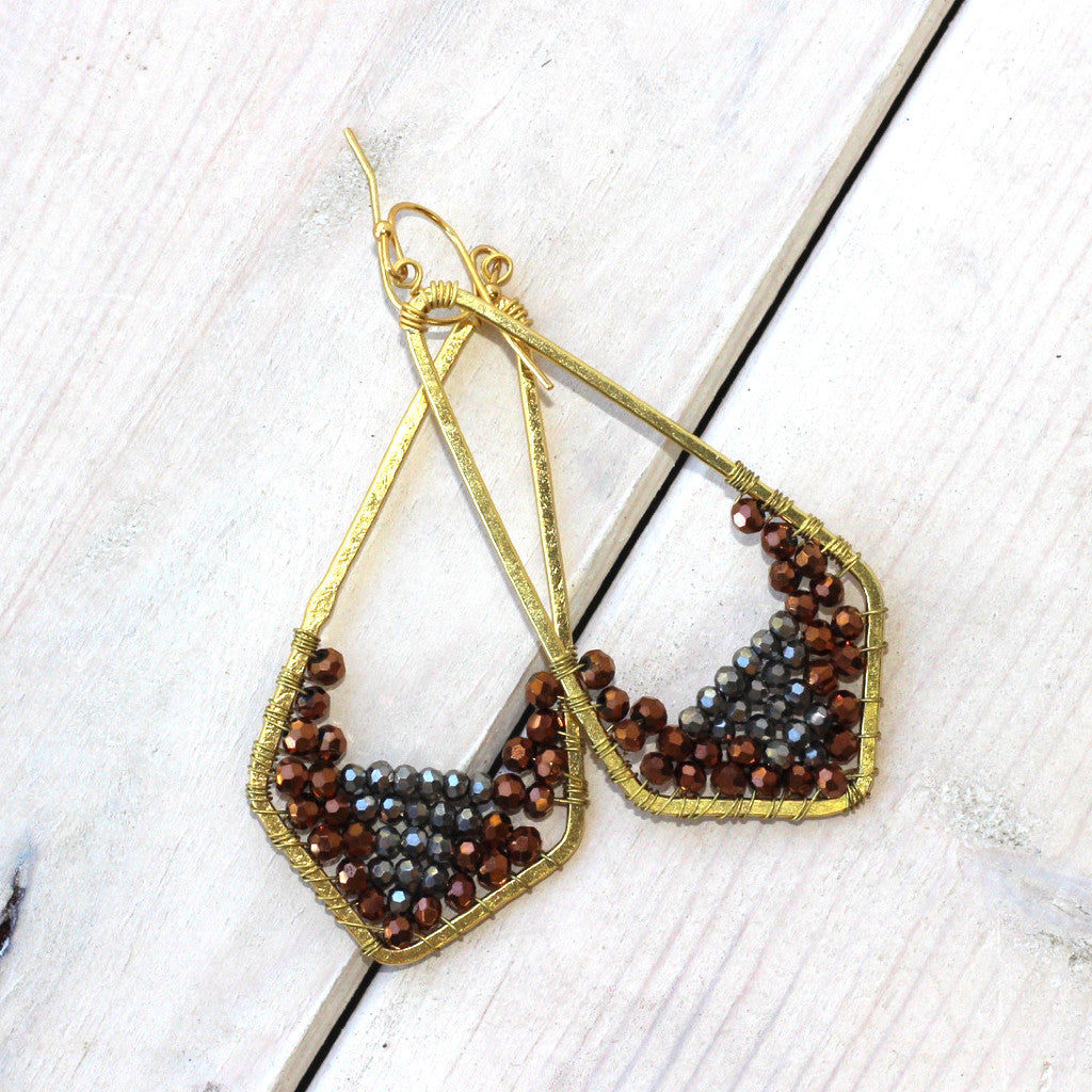 Silver and Brass Bead Triangle Drop Earrings
