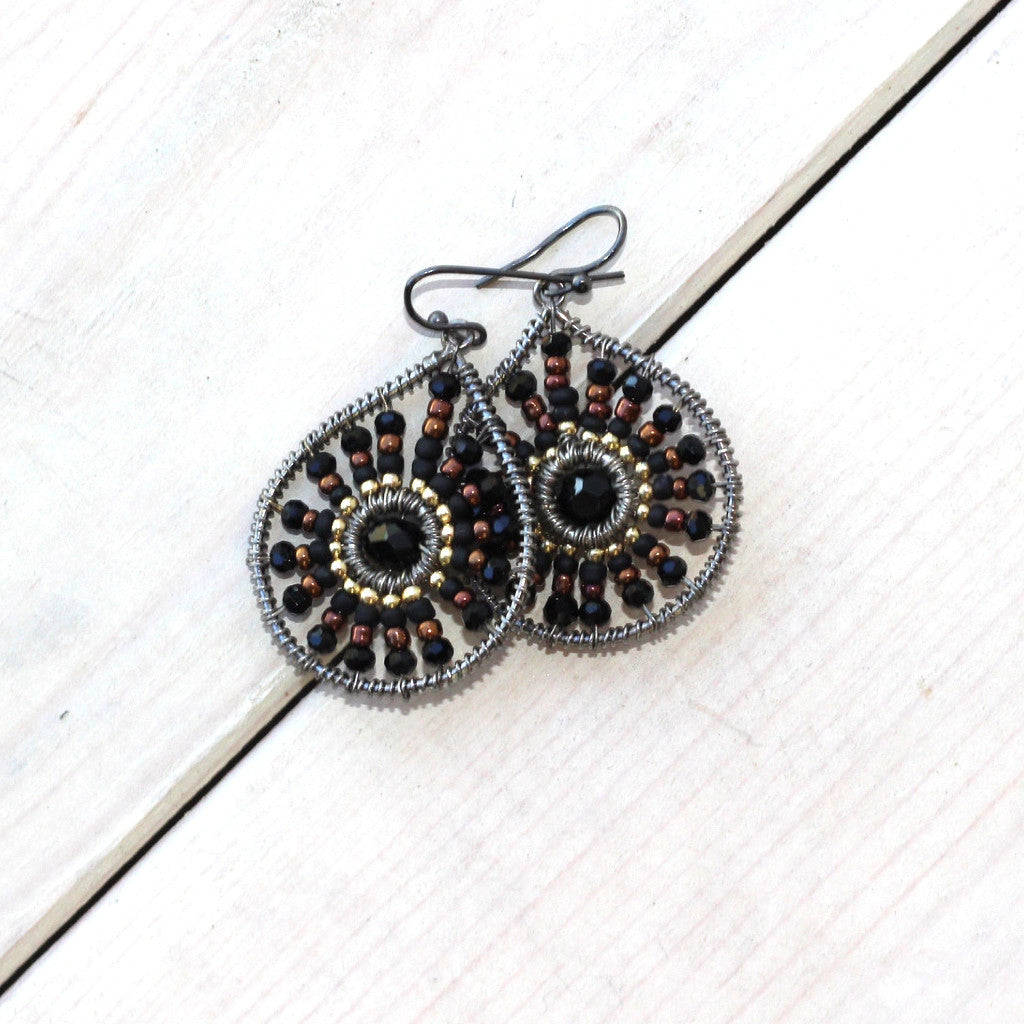Black and Brass Bead Wrapped Earrings