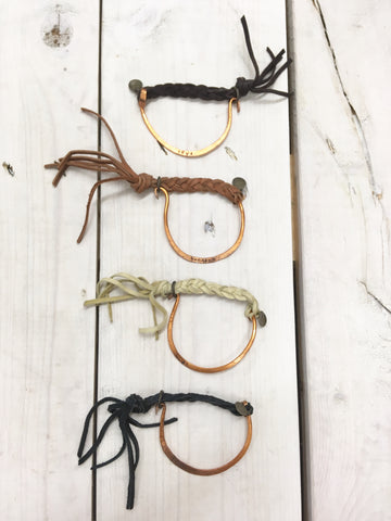 hoof-shaped, braided bracelets