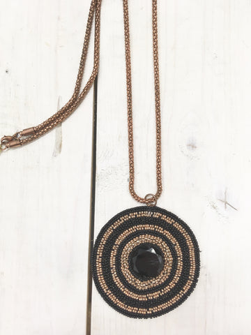 Long Beaded Circle Necklace