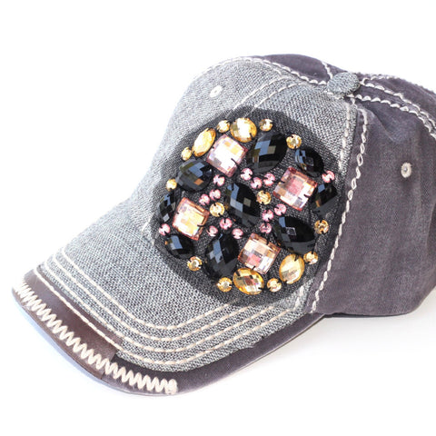 Jewel Bling Two-Toned Ball Cap - Grey