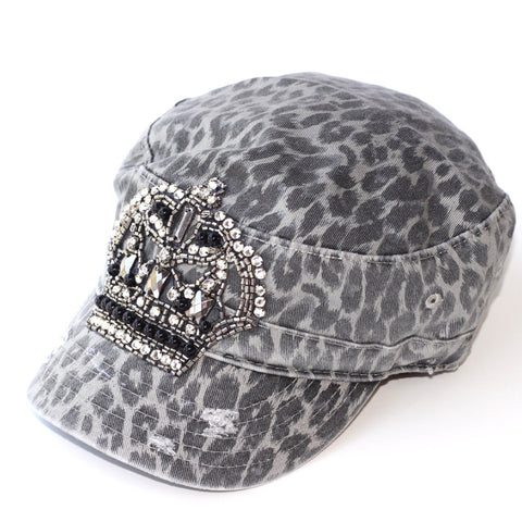 Distressed Cadet with Bling Crown - Grey Cheetah