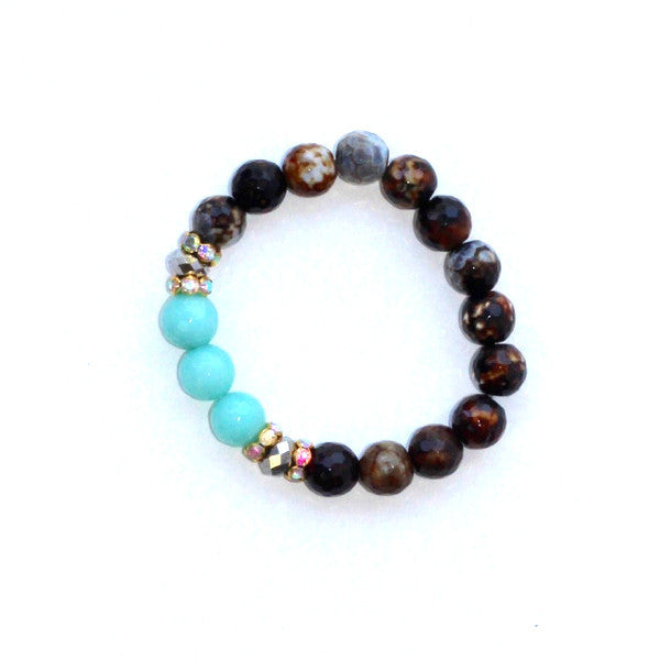Brown Aqua Stackable Bead Bracelet