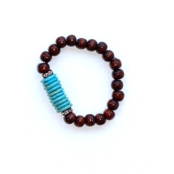 Turquoise and Sandalwood Stackable Bracelet
