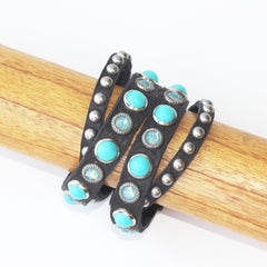 Turquoise and Black Leather Cuff