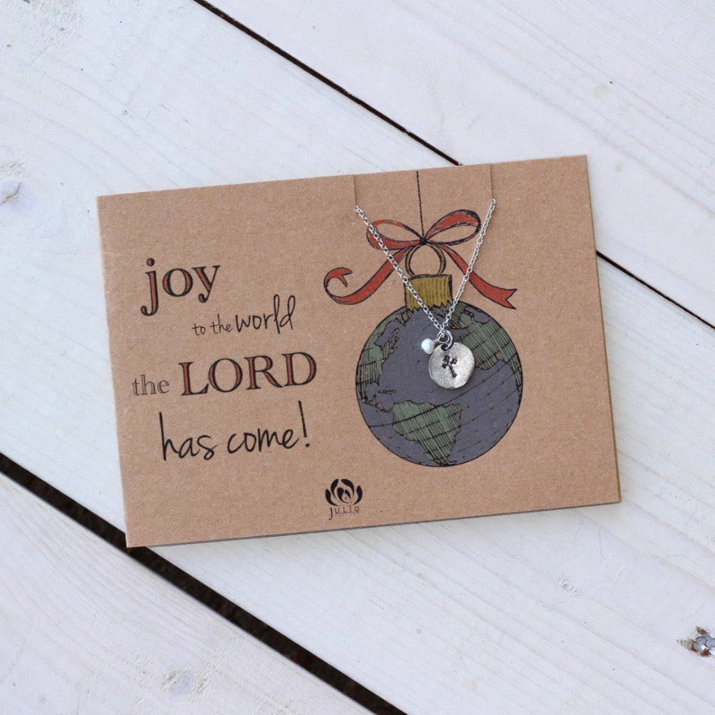 Stamped Cross Necklace with Custom Notecard