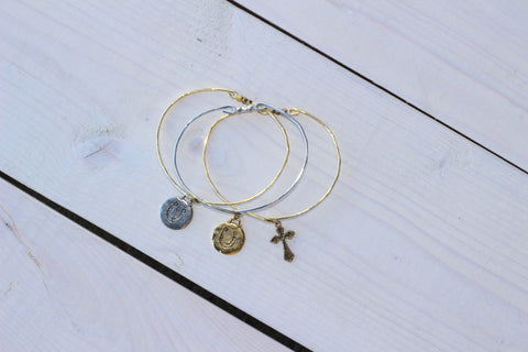 Horseshoe and Cross Bangles - Sold Separately