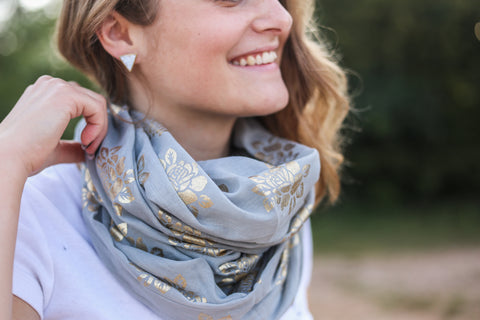 Metallic Stamped Infinity Scarf