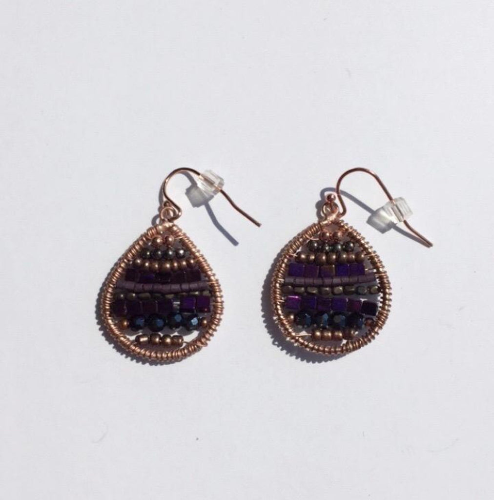 Dangle Bead Stitched Earrings