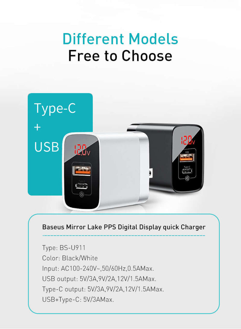 Baseus Mirror Lake Dual QC Digital Display Quick Charger Type-c + A Black