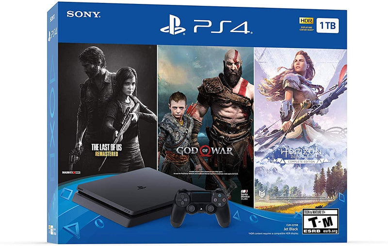 PlayStation 4 (PS4) Slim 1TB +The Last of Us + God of War + Horizon Zero Dawn