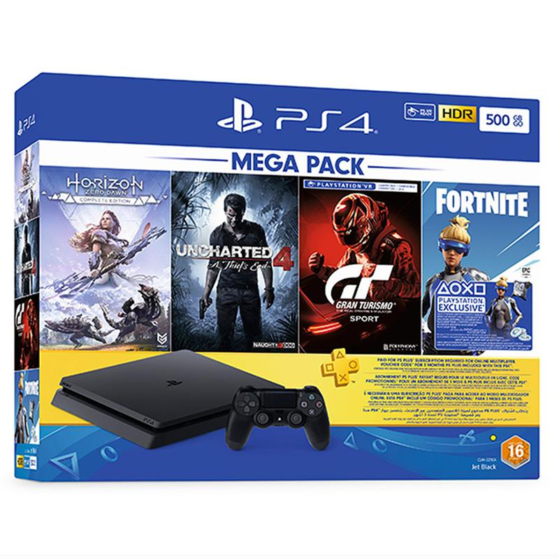 Shamy Stores PlayStation 4 (PS4) Slim 500G with 3 Month PSN Subscription and 4 Games Bundle PS4 Console Sony Sony egypt