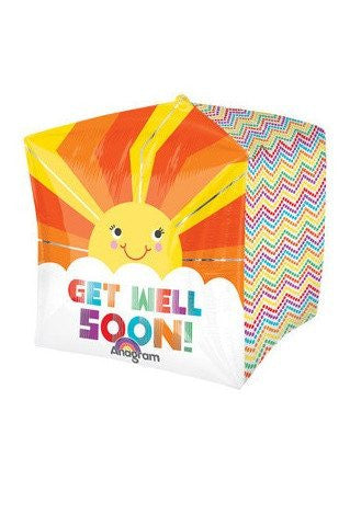 Get Well Sun Beam Cubez Balloon
