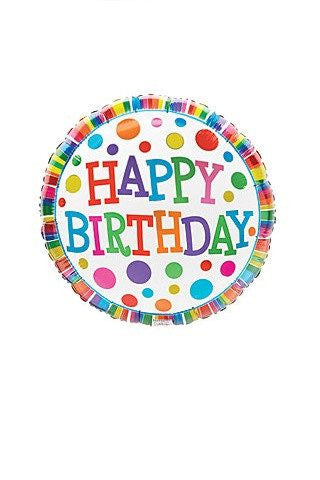 "Happy Birthday Brights 18"" Mylar Balloon"