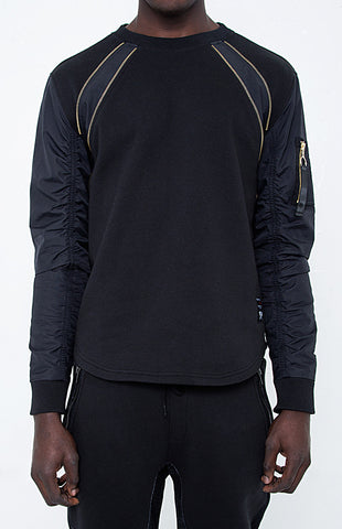 BLACKOUT ZIPPER TRIM & JACKET SLEEVES SWEATSHIRT