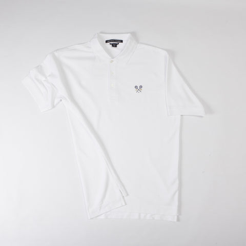 Men's White Polo Shirt with Crossed Racquets Logo