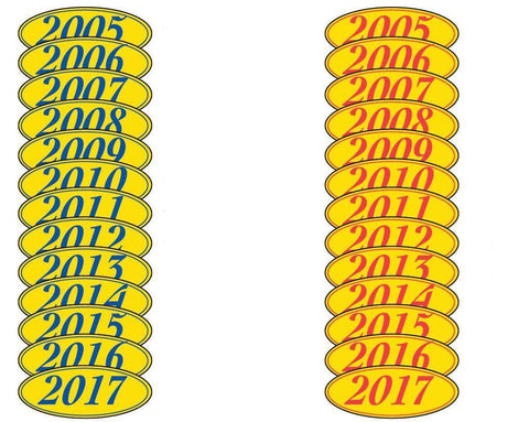 Oval Year Window Stickers - flywheelnw.com