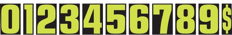 "Number Window Stickers - 9-1/2"" Fluorescent Green & Black - flywheelnw.com"