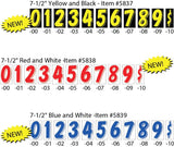 "Number Window Stickers - 7-1/2"" Various Colors - flywheelnw.com"