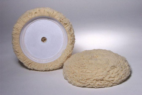 Velcro White Wool Buffing Pad - flywheelnw.com