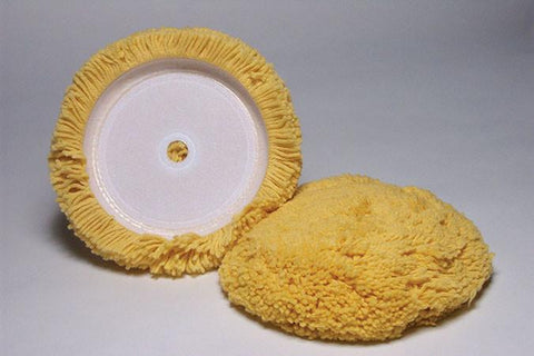 Velcro Yellow Wool Lt. Cut Buffing Pad - flywheelnw.com