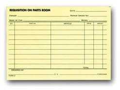Parts Requisition Forms - Small - flywheelnw.com
