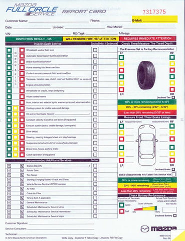 Multi-Point Inspection Forms - Manufacturer Specific - Mazda - flywheelnw.com