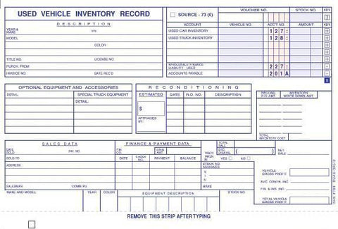 Used Vehicle Inventory Record (Front) - flywheelnw.com