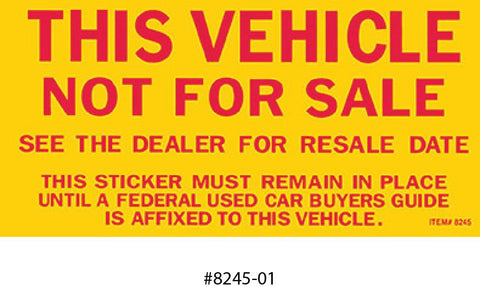 Vehicle Not For Sale Sticker (Outside Use) - flywheelnw.com