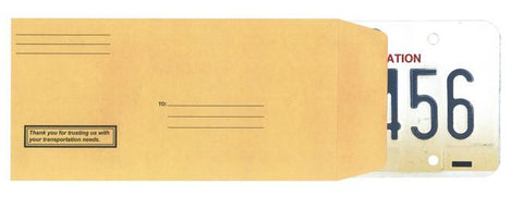 License Plate Envelopes - Preprinted Moist & Seal - flywheelnw.com
