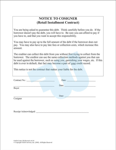 Notice to Cosigner -  Retail Installment Contract - flywheelnw.com