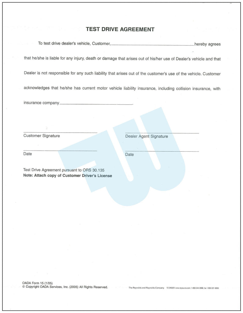 Test drive agreement for Motor vehicle driver test