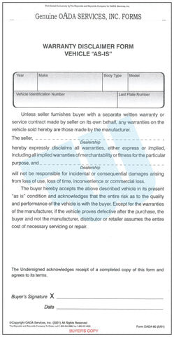 "Warranty Disclaimer Form Vehicle ""AS-IS"" - flywheelnw.com"