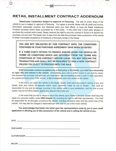 Retail Installment Contract Addendum - flywheelnw.com