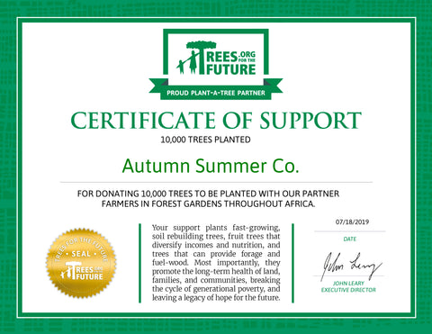 certificate of support from trees for the future