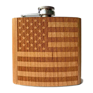 Open image in slideshow, Flask American Flag Flask, Custom Wooden Gifts