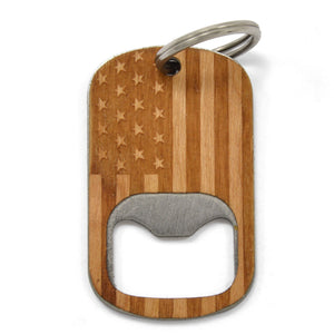 Open image in slideshow, Patriotic American Flag Bottle Opener Keychain, Custom Wooden Gifts