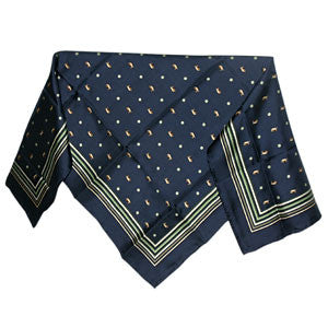 Silk Square Scarf - Navy
