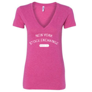 V-Neck T-Shirt with NYSE Logo - Pink